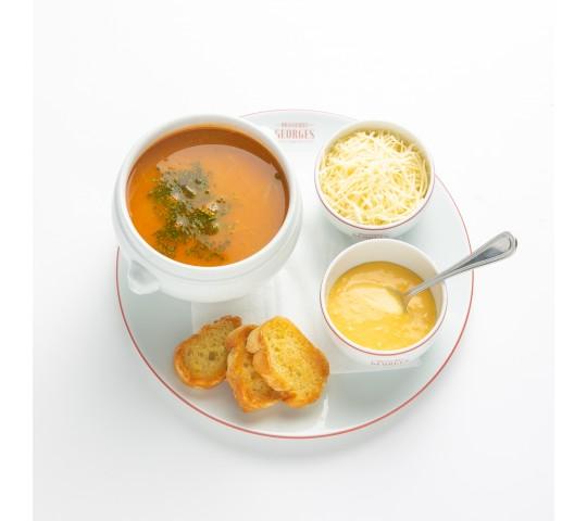 Soupe de poissons, rouille et croûtons