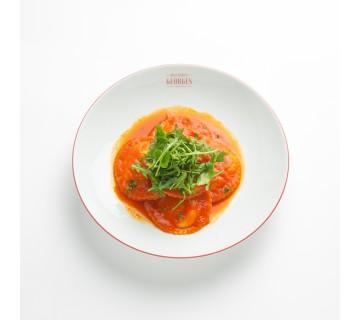 Ravioles aux légumes du solei et coulis de tomates