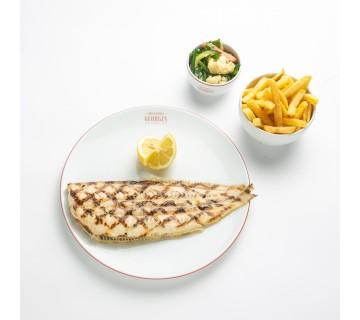 Sole grillée, bouquetière de légumes, pommes frites