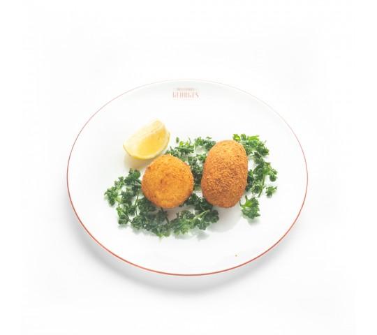 Duo de fondu et croquette aux crevettes grises