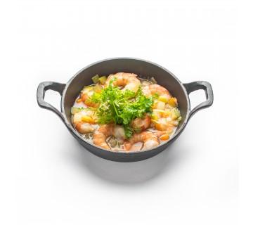 Gourmandise de scampis rôtis et petite nage de légumes