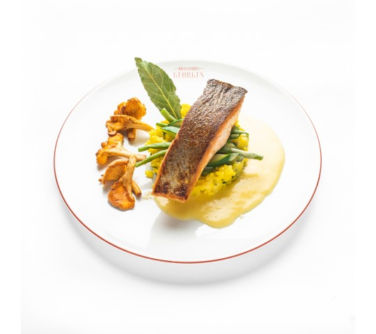 Tournedos de saumon rôti et beurre blanc, risotto aux pleurotes